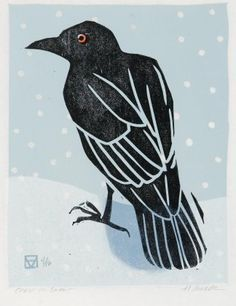 Crow Art, Raven Art, Bird Art, The Crow, Linocut Prints, Art Prints, Block Prints, Vogel Illustration, Botanical Illustration