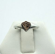 Vintage Sterling Silver CTR Shield Ring by rubysvintagejewelry