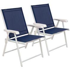 Folding Sling Chair Set of 2 Never Rust Aluminum Outdoor Patio Garden Seat New Beach House Furniture, Camping Furniture, Garden Furniture Sets, Outdoor Garden Furniture, Outdoor Decor, Outdoor Pool, Wall Seating, Patio Seating, Garden Seating