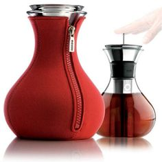 A French Press style tea brewer. Sleek and portable!