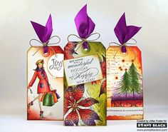 @Jill Foster 's gorgeous jewel-toned tags created with Penny Black Stamps