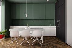 Contemporary Kitchen Design, Modern Interior Design, Modern Decor, Green Kitchen Designs, Dark Green Kitchen, Green Kitchen Cabinets, Upper Cabinets, Kitchen Models, Kitchen Interior