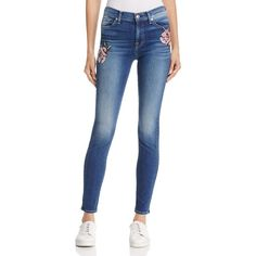 7 For All Mankind The Skinny Needle Point Patch Jeans in Liberty ($195) ❤ liked on Polyvore featuring jeans, liberty, rose jeans, patching blue jeans, patched skinny jeans, 7 for all mankind and blue jeans