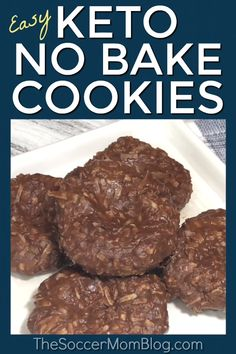 No-Bake Keto Cookies - Keto Brownies - Ideas of Keto Brownies - Our most popular recipe of all time & my go-to guilt-free treat! These chocolate & peanut butter Keto no bake cookies are super easy and so rich and delicious! Biscuits Keto, Cookies Et Biscuits, Desserts Keto, Keto Snacks, Dessert Recipes, Cookie Recipes, Keto Dessert Easy, Breakfast Recipes, Keto Sweet Snacks