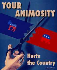 """Jeff Gates's """"Camomile Tea Party"""" posters borrowing imagery from WWII propaganda posters"""