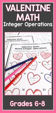 Your students will have lots of fun with this Valentine themed integer operations. They will practice their integer rules and order of operations to complete each set of worksheets. Click here for more details!