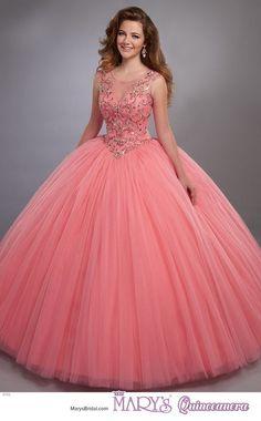 Ball Gown Dresses, 15 Dresses, Evening Dresses, Fashion Dresses, Formal Dresses, Sweet 16 Dresses, Pretty Dresses, Vestidos Color Coral, Pretty Quinceanera Dresses