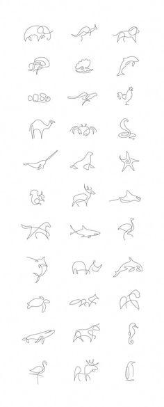 Tiny Tattoo Idea - Minimalist One Line Animals By A French Artist Duo - Art - Tattoo Designs For Women Tattoo Drawings, Body Art Tattoos, Tattoo Sketches, Hot Tattoos, Line Drawing Tattoos, Icon Tattoo, Art Drawings, Tattoo Style, Flower Drawings