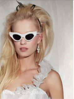 Vogue magazine features Mercura NYC pearl extreme cat shades with Mercura pearl neck lace eyewear extension; Vogue Italy Sposa January 2014; styled by Allison St. Germain; Photo by Angelika Buettner;