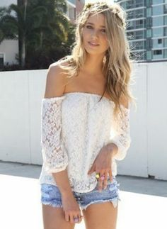White Off The Shoulder Lace Blouse - Sheinside.com Mobile Site