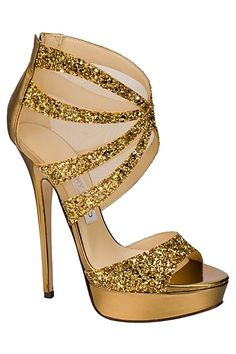 Gorgeous gold Jimmy Choo heels - perfect for that special day! xx gold jimmy choo glitter sandals with mesh inserts Gold Strappy Heels, Glitter Sandals, Gold Shoes, Stiletto Heels, Gold Sandals, Crazy Shoes, Me Too Shoes, Stilettos, Christian Louboutin