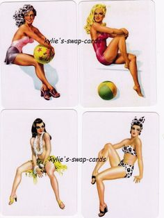077 SET OF 4 SEXY PINUP GLAMOUR GIRLS swap playing cards MINT COND bikini ladies