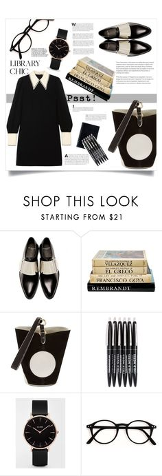 """""""Psst..."""" by puljarevic ❤ liked on Polyvore featuring Givenchy, Diane Von Furstenberg, CLUSE, PSST, Miu Miu, black, blackandwhite and librarychic"""