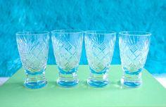 Cut Crystal Liqueur Glasses, Shot Glasses, Scotch or Cordial, Vintage Barware