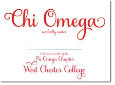 Chi Omega Bid Day cards - custom sorority bid day invitations for sorority recruitment. http://www.trulysisters.com/chi-omega-sorority/bid-day-cards/invitation-style-a/