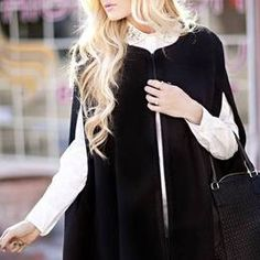 Lovers + Friends Black Brushed Suiting Cape