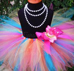 Girls Tutu  Birthday Tutu  Tropical Mix  Pink Orange by TutuTiara, $40.00