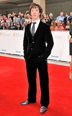 Glitter shoes and a velvet suit....Benedict Cumberbatch can make anything look good.
