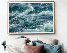 Large Ocean Art Print, Aerial Ocean Photography, Teal Blue Stormy Sea Photo, Ocean Waves Picture, Oversized Coastal Artwork Beach Wall Decor