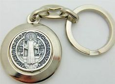 """MRT St Benedict Medal Keychain Ring Silver Plate Protection Saint Car Travel 4"""""""