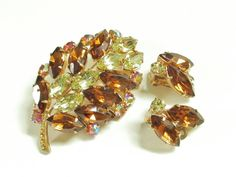 Vintage Brooch & Earrings Pink Citrine Amber by GrandVintageFinery, $42.95