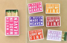 #Matches with Romantic Slogans To order your business' own branded #matchboxes or #matchbooks GoTo: www.GetMatches.com or CALL 800.605.7331 TODAY!