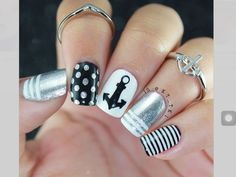 Black Grey & White Nails