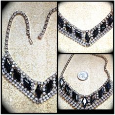 This stunning necklace has 7 diamond shaped black but almost an iridescent dark grey look to them in the light. Absolutely beautiful, all stones present and prong set. Convo if questions please.