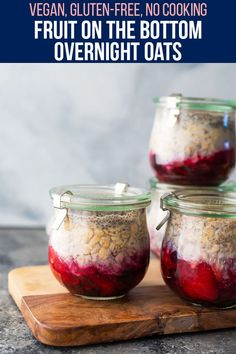 Inspired by my childhood obsession, these fruit on the bottom overnight oats have a fruity surprise under a layer of creamy oatmeal. Just 5 simple ingredients and 10 minutes to prepare, making these perfect for meal prep day! #sweetpeasandsaffron #mealprep #breakfast #vegan #glutenfree #oatmeal Healthy Chips, Healthy Snacks, Healthy Breakfasts, Slow Cooker Freezer Meals, No Cook Meals, Beef Recipes, Vegan Recipes, Snack Recipes, Best Breakfast Recipes