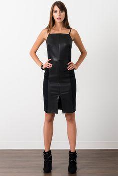 Suzy Shier Faux Leather & Suede Dress