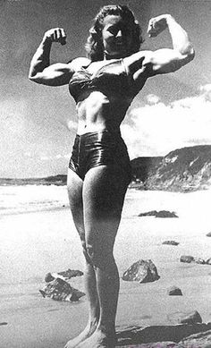 "Abbye ""Pudgy"" Stockton (August 11, 1917 in Santa Monica, California – June 26, 2006) was a professional strongwoman and forerunner of present day female bodybuilders, who became famous through her involvement with Muscle Beach in the 1940s."