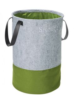 paint basket grey, then dip in green paint, with dark wood handle