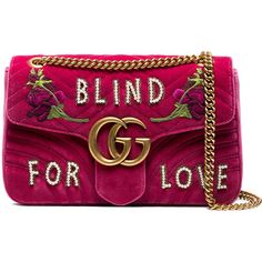 Gucci Pink GG Marmont Medium Velvet Shoulder Bag ($2,800) ❤ liked on Polyvore featuring bags, handbags, shoulder bags, quilted purses, purple purse, floral handbags, chain shoulder bag and pink shoulder bag