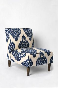 Slipper Chair - Indigo Ikat from Urban Outfitters. Saved to Home. Shop more products from Urban Outfitters on Wanelo. Eclectic Chairs, Urban Outfitters, Take A Seat, Upholstered Furniture, Garden Furniture, Antique Furniture, Modern Furniture, My New Room, Home Decor Ideas