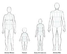 Download the croquis family (pdf). This file includes six figures: average woman, petite woman, plus-size woman, average man, child, and toddler.