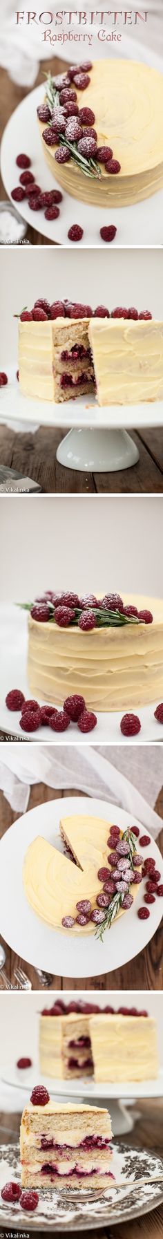 """Frostbitten Raspberry Cake: This cake is off the scale magnificent! Russian """"biskvit"""" (vanilla sponge cake) filled with creamy mascarpone and raspberry compote and frosted with a rich white chocolate buttercream. It's glorious!"""
