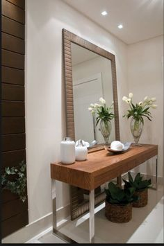 new ideas house entrance modern mirror Entrance Table, House Entrance, Entrance Ideas, Entryway Mirror, Entryway Decor, Mirror House, Foyer, Living Room Designs, Living Room Decor