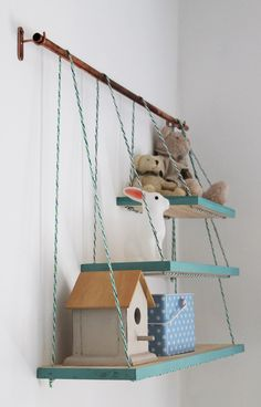 DIY - I'm very proud of this little shelving unit. It was one of the last DIY projects that I did before Luc was born, and I absolutely adore it. Pine shelving, some ski rope and a copper pipe with brackets – that's it!   View more here - http://ow.ly/qrCc300QgZm