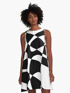 Abstract Monochrome A-Line dress, @RedBubble #casual #abstractprint #printdress #casualprintdress #monochrome #casualchic #redbubble