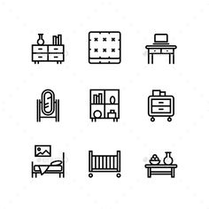 Furniture, Decor, Interior Vector Simple Icons for Web and Mobile Design Pack 3