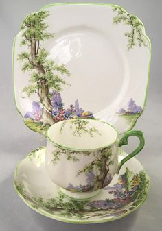 """Royal Albert Greenwood Tree Trio Green Handle and Trim Edition Registered. # 774783 Teacup 2.75"""" with handle 3.8"""" Saucer 5.6"""" Lunch Plate 6.75"""" *Combined Shipping is Available for Multiple Purchases* GIFT WRAPPING AVAILABLE UPON REQUEST"""