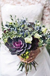 For rustic elegant, a cabbage makes the perfect centre of a bouquet of wintry flowers. Combining dark green with a vivid purple, its leaves are simply stunning Silk Wedding Bouquets, Flower Bouquet Wedding, Floral Wedding, Wedding Dresses, Herb Bouquet, Bouquet Garni, Thistle Bouquet, Cabbage Flowers, Flowers Uk