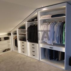 Attic Bedroom Closets, Attic Bedroom Storage, Attic Master Bedroom, Attic Bedroom Designs, Attic Wardrobe, Loft Storage, Attic Closet, Bedroom Closet Design, Attic Design