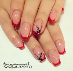 Идеи дизайна ногтей - фото,видео,уроки,маникюр! Fancy Nails, Red Nails, Cute Nails, Hair And Nails, Blue Nail, French Manicure Toes, French Tip Nails, French Nail Designs, Gel Nail Designs