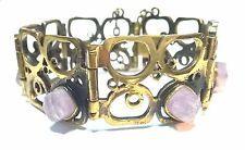 Pentti Sarpaneva Finland - Beautiful Vintage Bronze Bracelet with Amethysts