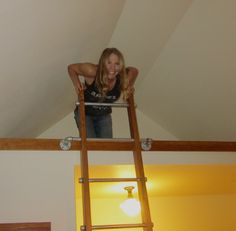 Up in the loft of Owl cabin.  This is the ladder I built using galvanized pipe and fittings.