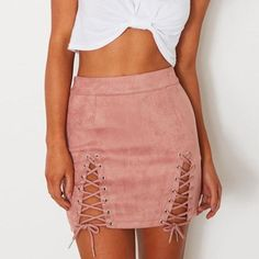 f520864cce Women's High Waist Bodycon Leather & Suede Pencil Bandage Skirt w/ Lace  Design