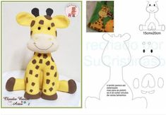 moldes para hacer jirafas de fieltro paso a paso03 Felt Ornaments Patterns, Felt Crafts Patterns, Felt Crafts Diy, Felt Diy, Baby Crafts, Felted Wool Crafts, Felt Animal Patterns, Stuffed Animal Patterns, Fabric Animals