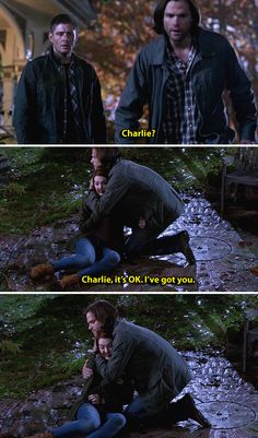[gifset] Dean's face.... 10x11 There's No Place Like Home. Ugh, this hurt so much. Poor Dean, poor Charlie. And Sam's just trying so hard to be there for Dean, to help him through this and he's here for Charlie in this scene, holding and comforting her. <3