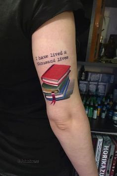 'I have lived a thousand lives' book tattoo by Ivan Androsov(Cool Piercings Men) Writer Tattoo, Book Tattoo, Tattoo Quotes, Baby Tattoos, Life Tattoos, Small Tattoos, Tattoos For Lovers, Tattoos For Guys, Tattoos For Women